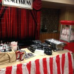 Concession stand with coca cola, Hershey's bars, popcorn and hot dogs.