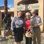 Molly, Sales Director with two of our residents outside the Joslyn Center