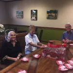 The residents putting the Valentines together.